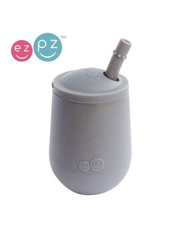 EZPZ Silikonowy kubeczek ze słomką Mini Cup + Straw Training System 120 ml szary