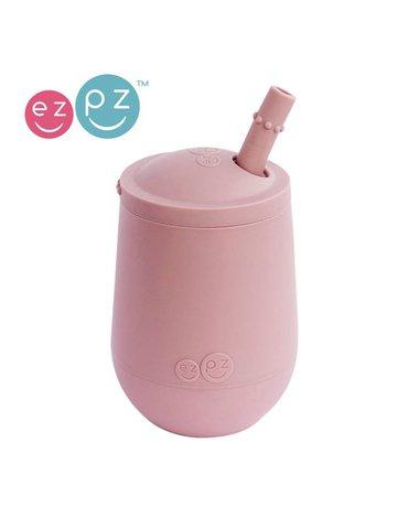 EZPZ Silikonowy kubeczek ze słomką Mini Cup + Straw Training System 120 ml pastelowy róż