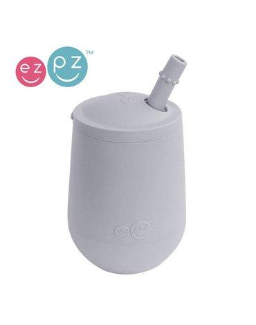 EZPZ Silikonowy kubeczek ze słomką Mini Cup + Straw Training System 120 ml pastelowa szarość