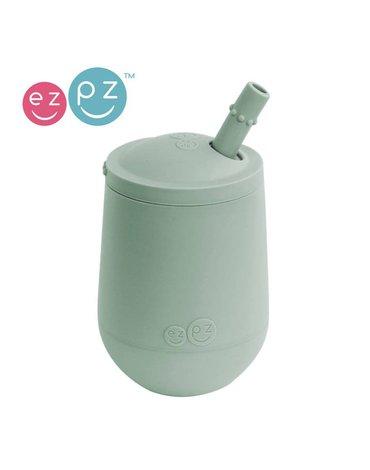 EZPZ Silikonowy kubeczek ze słomką Mini Cup + Straw Training System 120 ml pastelowa zieleń
