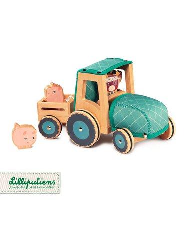 LILLIPUTIENS Drewniany traktor z przyczepą i 2 świnkami Krówka Rosalie 2 lata+