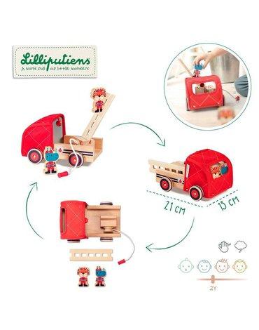 LILLIPUTIENS Drewniany wóz strażacki z rozwijanym wężem, drabiną i dzwonkiem Nosorożec Marius 2 lata+