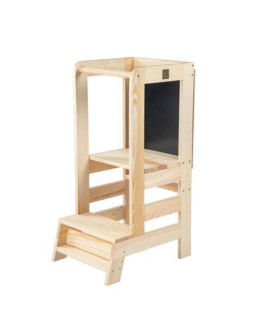 MeowBaby® Kitchen Helper z Tablicą Pomocnik Kuchenny dla Dziecka, Naturalne drewno