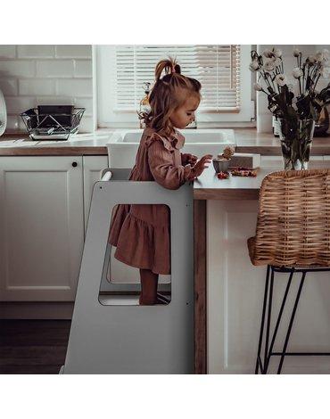 MeowBaby® Kitchen Helper Scandi Pomocnik Kuchenny dla Dziecka, szary