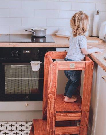 MeowBaby® Kitchen Helper Pomocnik Kuchenny dla Dziecka, Teak