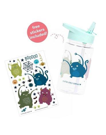 A Little Lovely Company - Bidon transparentny ze składanym ustnikiem Monsters z naklejkami