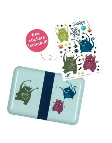 A Little Lovely Company - Śniadaniówka Lunchbox Monsters z naklejkami
