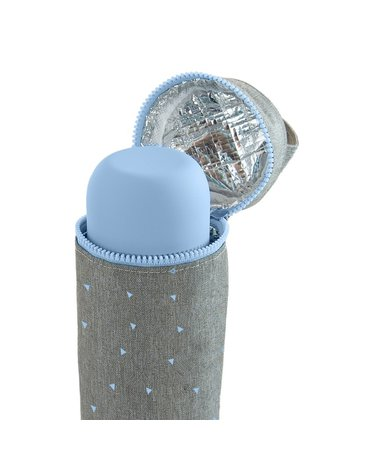 Miniland - Termoopakowanie Azure-Rose na termos/butelkę 500ml - szary/niebieski