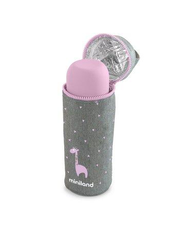 Miniland - Termoopakowanie Azure-Rose na termos/butelkę 350ml - szary/różowy