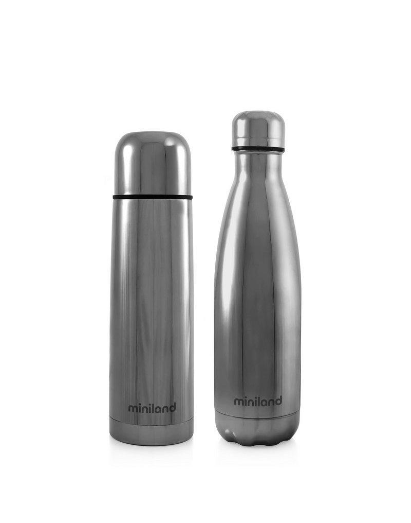 Miniland - Termos dla dziecka + butelka dla rodzica Deluxe 500ml - srebrne