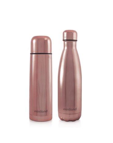 Miniland - Termos dla dziecka + butelka dla rodzica Deluxe 500ml - różowe
