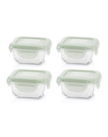 Miniland - Pojemniki szklane kwadratowe ECO-friendly 4x160ml - Wiewiórka