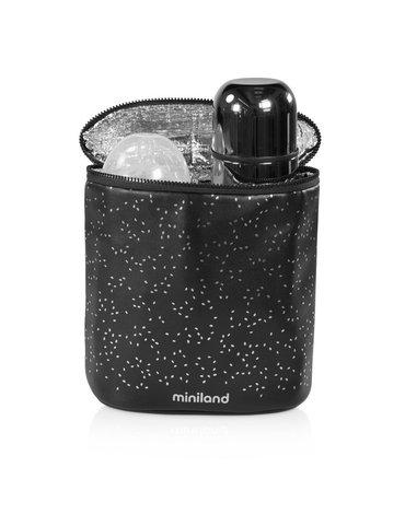 Miniland - Termoopakowanie Deluxe na termosy/butelki 500ml - czarne/srebrne