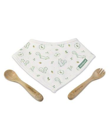 Miniland - Zestaw bambusowy ECO-friendly (łyżeczka+widelec+serwetka) - Wiewiórka