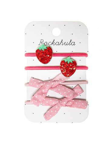 Rockahula Kids - 4 gumki do włosów Sweet Strawberry Glitter