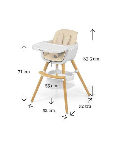 Milly Mally - Krzesełko do karmienia 2w1 Espoo Beige