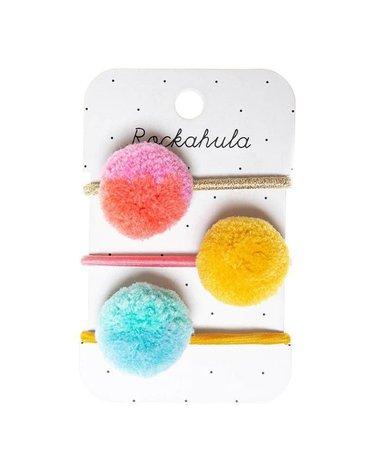 Rockahula Kids - 3 gumki do włosów Candy Stripe Pom Pom