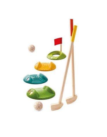 Drewniany mini golf - duży zestaw, Plan Toys USZKODZONE OPAKOWANIE!