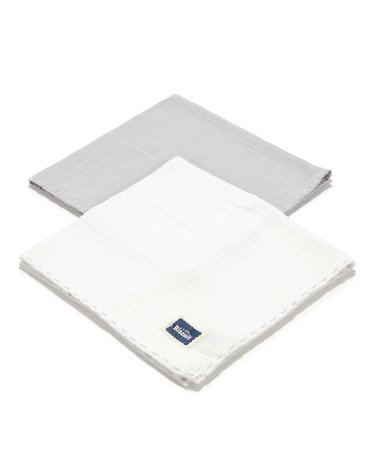 LA MILLOU - BISCUIT COLLECTION - 2 PACK PIELUSZKA 100% COTTON MUSLIN - STONE & OFF WHITE