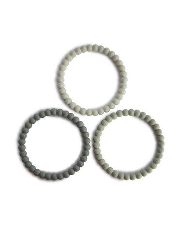 Mushie - 3 silikonowe bransoletki gryzaki PEARL Green Tea Cool Gray Sea Salt