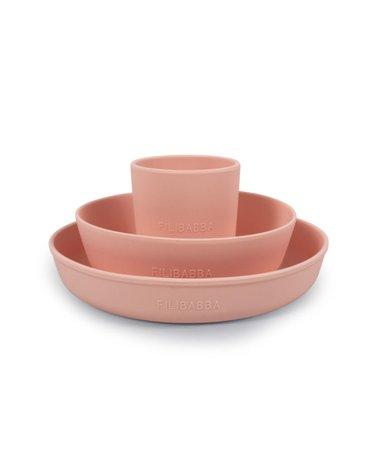 Filibabba Silikonowy zestaw obiadowy Peach