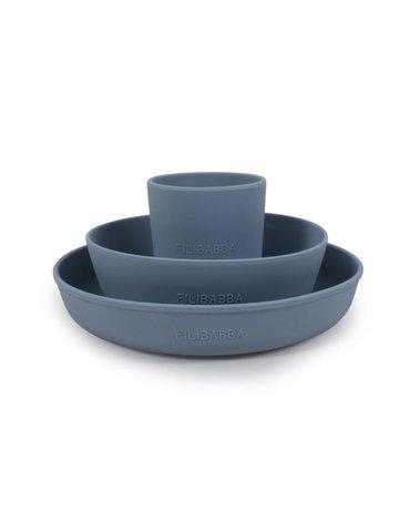 Filibabba Silikonowy zestaw obiadowy Powder blue