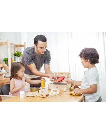 Zestaw jedzenia i napojów do zabawy w gotowanie, Plan Toys. USZKODZONE OPAKOWANIE!