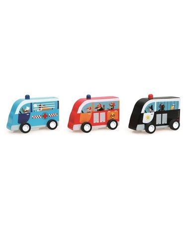 Scratch, Zestaw 3 drewnianych samochodów: Policja, Straż, Karetka