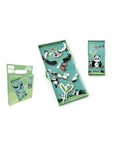 Scratch, magnetyczne puzzle Panda i tor kulek gra 2w1