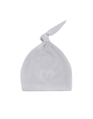 Effiki - Czapka 100% bawełny Szara z białym Serce m 0-1M