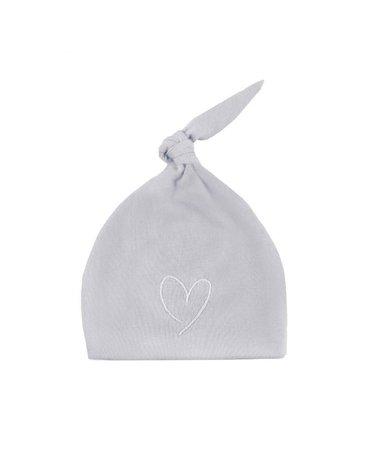 Effiki - Czapka 100% bawełny Szara z białym Serce m 1-3M