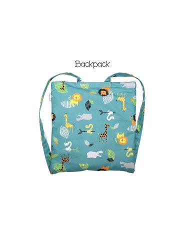 FlapJack Ręcznik Plecak Plażowy dla Dzieci 2w1 Zielone Zoo