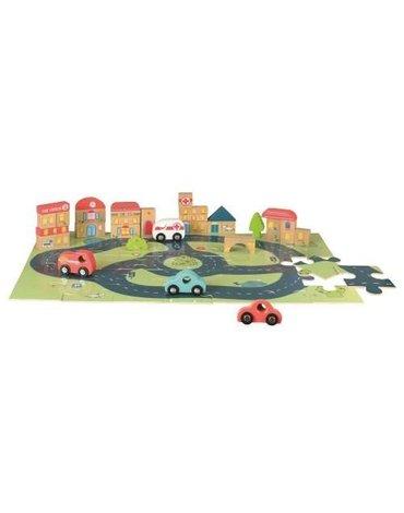 Egmont Toys® - Drewniane puzzle, miasto i samochodziki   Egmont Toys