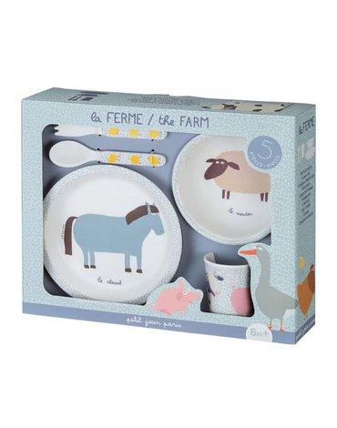 Zestaw naczyń i sztućców dla dziecka, 5 el., Farma | Maison Petit Jour®