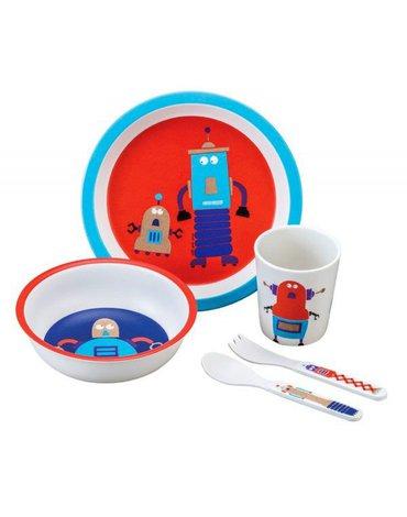 Zestaw naczyń i sztućców dla dziecka, 5 el., Roboty | Maison Petit Jour®