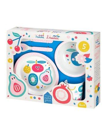 Zestaw naczyń i sztućców dla dziecka, 5 el., Tutti Frutti | Maison Petit Jour®