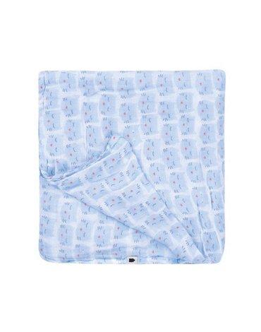 Muślinowy otulacz dla niemowlaka, Wszystko dla maluszka - niebieski kot   Maison Petit Jour®