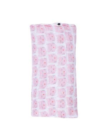 Muślinowy mały otulacz dla niemowlaka, Wszystko dla maluszka - różowy kot   Maison Petit Jour®