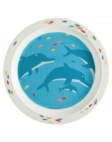Talerz fi 21 cm dla maluszków, seria Morze - Delfiny | Maison Petit Jour®