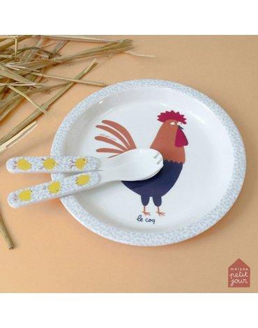 Talerz fi 18 cm dla małych dzieci, seria Farma | Maison Petit Jour®