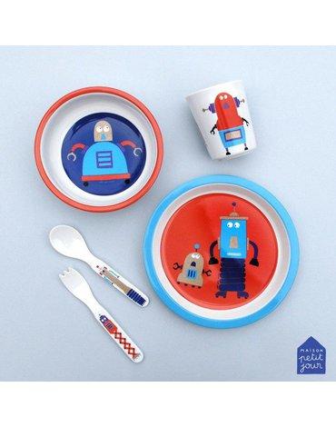Talerz fi 18 cm dla małych dzieci, seria Roboty | Maison Petit Jour®