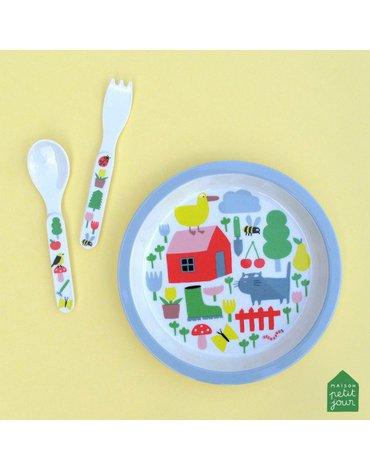 Talerz fi 18 cm dla małych dzieci, seria Wiejska Sielanka | Maison Petit Jour®