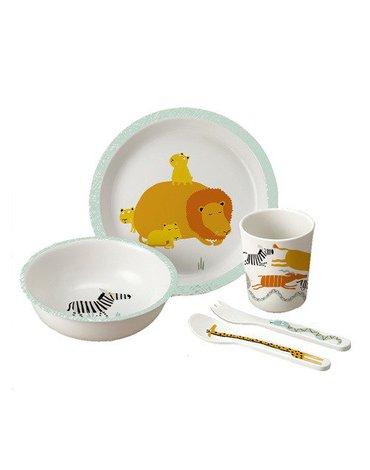 Zestaw naczyń i sztućców dla dziecka, 5 el., Sawanna | Maison Petit Jour®