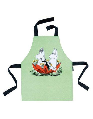 Fartuszek kuchenny dla dzieci, wodoodporny, zielony, Muminki | Petit Jour Paris®