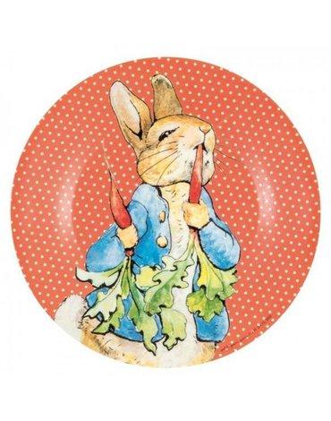 Talerz deserowy fi 20 cm dla dzieci, czerwony, Królik Piotruś | Petit Jour Paris®