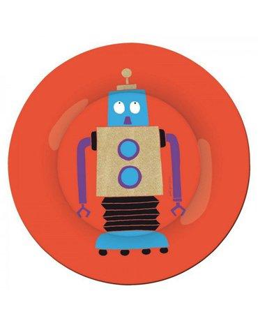 Talerz deserowy fi 20 cm dla dzieci, czerwony, seria Roboty   Maison Petit Jour®