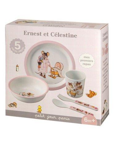 Zestaw naczyń i sztućców dla dziecka, 5 el., Ernest i Celestyna | Petit Jour Paris®