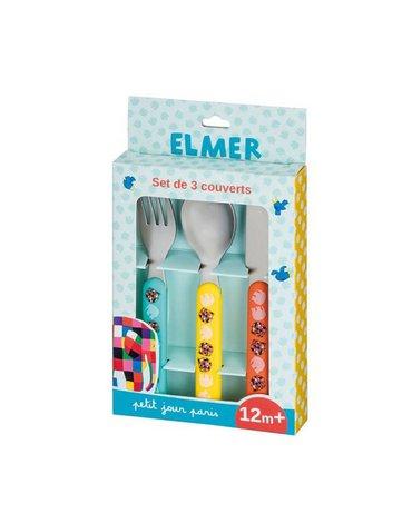 Elmer, komplet sztućców dla dziecka, 3 el.   Petit Jour Paris®