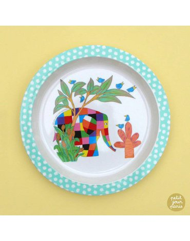 Elmer, Talerz z melaminy fi 21 cm dla dzieci   Petit Jour Paris®