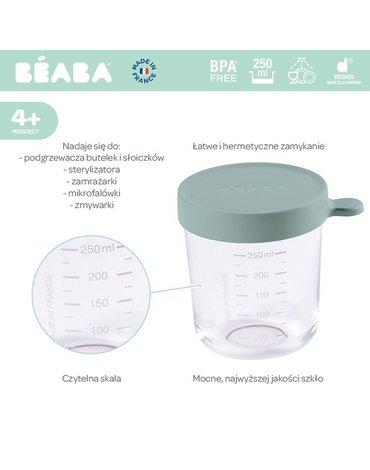 Beaba Pojemnik słoiczek szklany z hermetycznym zamknięciem 250 ml Eucalyptus Green